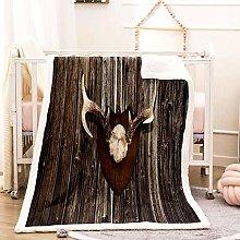 WEDSGTV Flannel Fleece Blanket 3D Brown Pattern