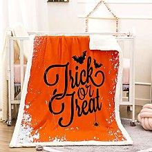 WEDSGTV Flannel Fleece Blanket 3D Halloween Orange