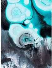 Wee Blue Coo Abstract Swirl Paint Turquoise Art