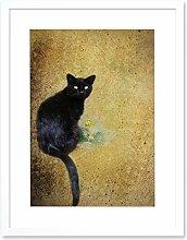 Wee Blue Coo Black Cat Yellow Flower Artwork