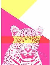 Wee Blue Coo Bold Animals Pink Leopard Art Print