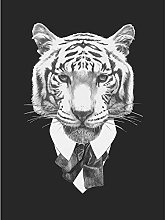Wee Blue Coo Bow Tie Tiger Drawing Art Print