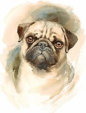 Wee Blue Coo Dog Pug Watercolour Large Wall Art