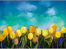 Wee Blue Coo Flower Yellow Tulips Painting Art