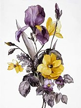 Wee Blue Coo Flowers Purple Yellow Art Print