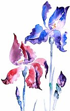Wee Blue Coo Flowers Violet Iris Large Wall Art