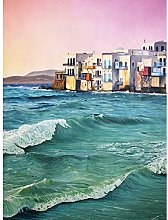 Wee Blue Coo Greece By The Sea Painting Art Print