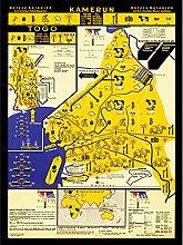 Wee Blue Coo Kamerun Togo Vintage Map Large Art