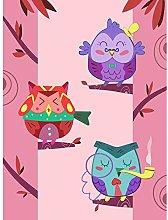 Wee Blue Coo Kawaii Owls Tree Art Print Canvas