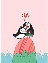 Wee Blue Coo Puffins in Love Art Print Canvas