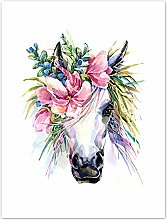 Wee Blue Coo Unicorn With Flower Wreath Art Print