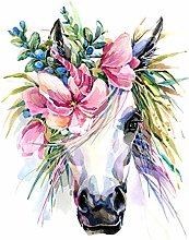 Wee Blue Coo Unicorn With Flower Wreath Large Wall