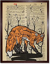 Wee Blue Coo Upcycle Dictionary Fox Art Print