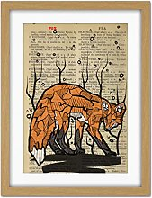 Wee Blue Coo Upcycle Dictionary Fox Artwork Framed