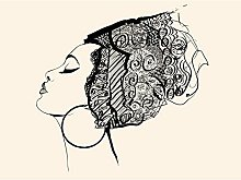 Wee Blue Coo Woman With Headdress Large Wall Art