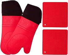 WeeDee Silicone Oven Mitts and Potholders (4-Piece