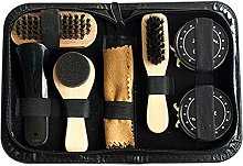 Weehey 8PCS Portable Shoe Shine Care Kit Black &