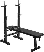 Weight bench with barbell rack - black