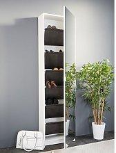 Weimar Mirrored Shoe Storage Cabinet In White