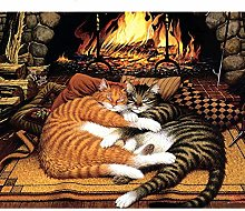 WEKUW Paint by Numbers Kits Fireplace cat DIY