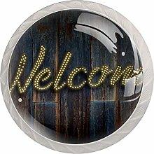 Welcome Banner 4pcs Glass Cupboard Wardrobe