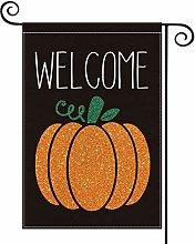 Welcome Fall Pumpkin Garden Flag Vertical Seasonal