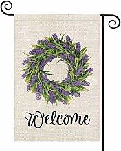 Welcome Lavender Wreath Garden Flag Vertical