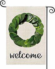 Welcome Magnolia Wreath Garden Flag Vertical