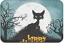 Welcome Mat Area Rug, Horror Cat for Halloween