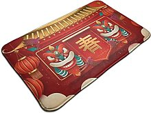 Welcome Mat Area Rug, Traditional Lunar Year with