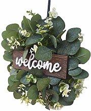 Welcome Sign Wreath Front Door, Artificial