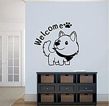 Welcome Wall Decals Dog Cute Animals Pets Shop