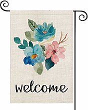 Welcome Watercolor Flower Garden Flag Double Sided