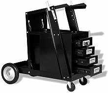 Welding Cart, Plasma Cutter Trolley with 4 Locking