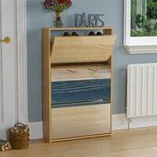Welham 3 Drawer Mirrored Shoe Cabinet, Oak