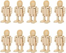 Well Made Wooden Robot Wood Figures 10pcs