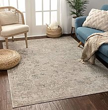 Well Woven Lena Vintage Beige & Gray Distressed