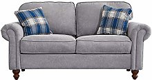 Wellgarden 2 Seater Fabric Grey Sofa Couch Settee