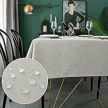 WELTRXE Rectangle Table Cloth,140x200cm,Faux Linen