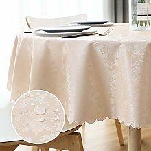 WELTRXE Round PU Tablecloth Wipe Clean Waterproof
