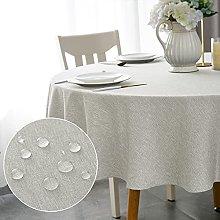 WELTRXE Round Table Cloth,180cm Diameter,Faux