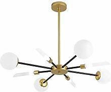 WEM 6-Light Modern Sputnik Chandelier,Satin Brass