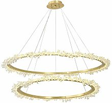 WEM Led Copper Simple Crystal Chandeliers Round