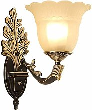 WEM Wall Lamps,Retro Wall Lamp Glass Shade Copper