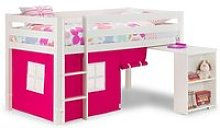Wendy Midsleeper Bunk Bed In Surf White With Pink