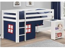 Wendy White Wooden Mid Sleeper With Blue Tent