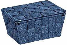 WENKO Adria Storage Basket with Lid Dark Blue