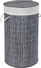 Wenko chest Bamboo Grey basket with laundry bag,
