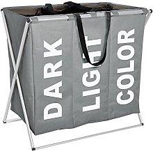 Wenko Laundry bin Trio in grey, Polyester, 38 x 63
