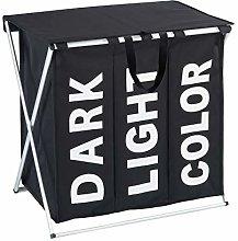 Wenko Laundry bin Trio Top in black, Polyester, 38